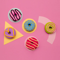Donuts Lover Set.  Flat lay candy minimal vanilla pink art - PhotoDune Item for Sale