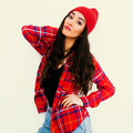 Pretty brunette Girl. Urban Fashion Look.  Checkered shirt and b - PhotoDune Item for Sale