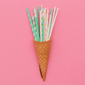 Waffle cone and cocktail rolls. Candy minimal art - PhotoDune Item for Sale