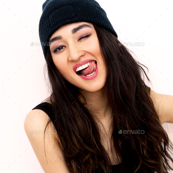 Sexy Brunette Girl In Black Beanie Cap Swag Rap Style
