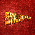 Slice of pizza on red sequins. Fast Food Art Flat lay minimal - PhotoDune Item for Sale