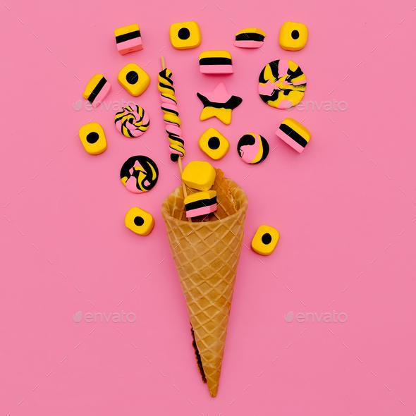 Candy  Ice Cream. Sweet Fashion art. Flatlay - Stock Photo - Images