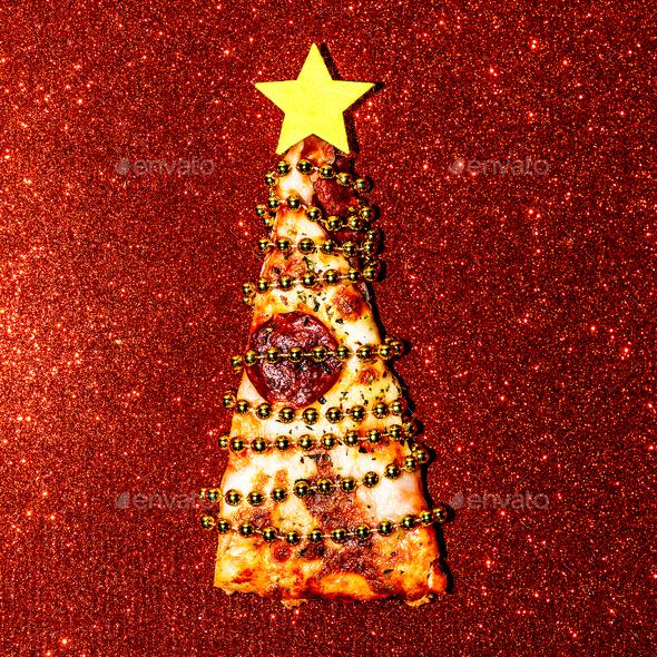 Christmas Pizza sequins  Fast Food Art Flat lay minimal