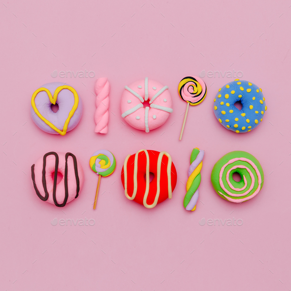 Fashion Sweet and Donuts. Pink Candy Minimal Flatlay art. - Stock Photo - Images