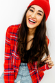 Happy brunette Girl. Smile and fashion urban vibes. Red colours - PhotoDune Item for Sale