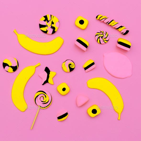 Sweet candy mix. Minimal Flatlay art. - Stock Photo - Images