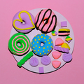 Set Creative Donuts and sweets. Flat lay candy minimal art - PhotoDune Item for Sale