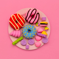 Set  Donuts and sweets. Flat lay candy minimal art - PhotoDune Item for Sale