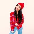 Happy brunette Model Fashion Checkered shirt and beanie cap. Cas - PhotoDune Item for Sale