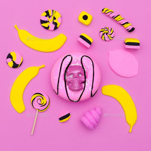 Sweet mix. Donut. Souffle. Candy. Minimal Flatlay art. - Stock Photo - Images