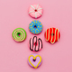 Fashion Donut Set. Pink Candy Minimal Flatlay art. - PhotoDune Item for Sale