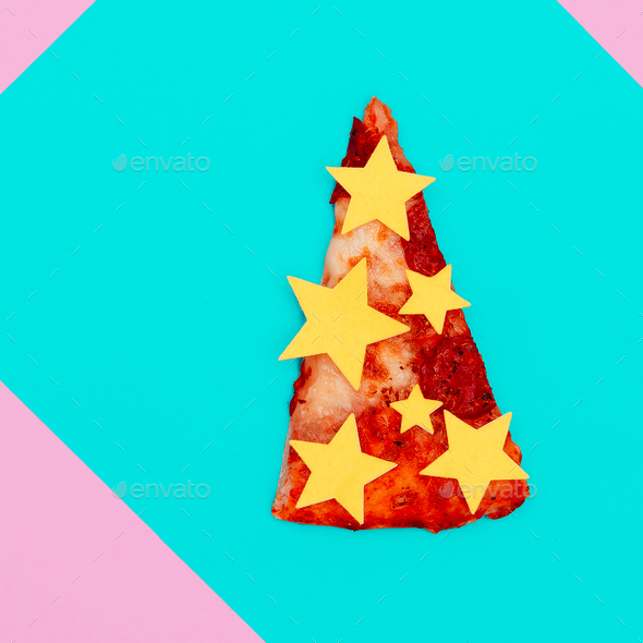 Slice of pizza. Fast Food Art. Flat lay minimal concept. Candy c - Stock Photo - Images