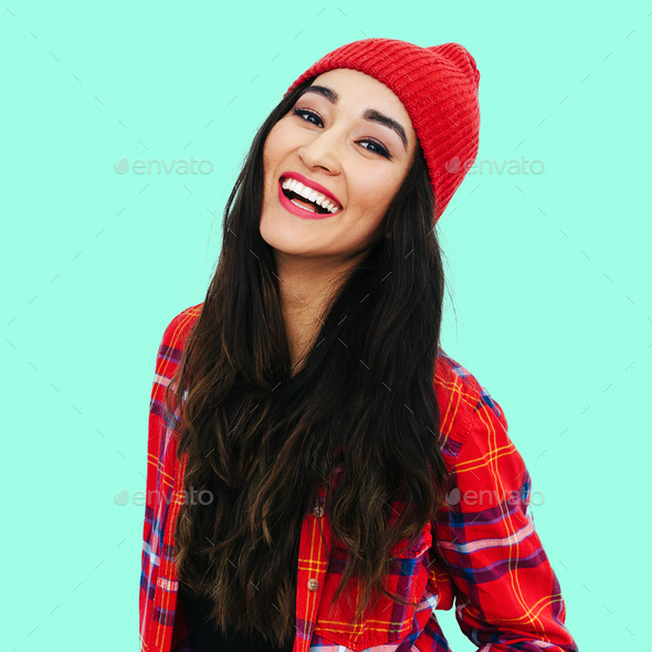 Beautiful smilinghappy girl. Casual style - Stock Photo - Images