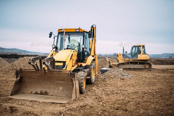 Industrial backhoe excavator loader - Stock Photo - Images