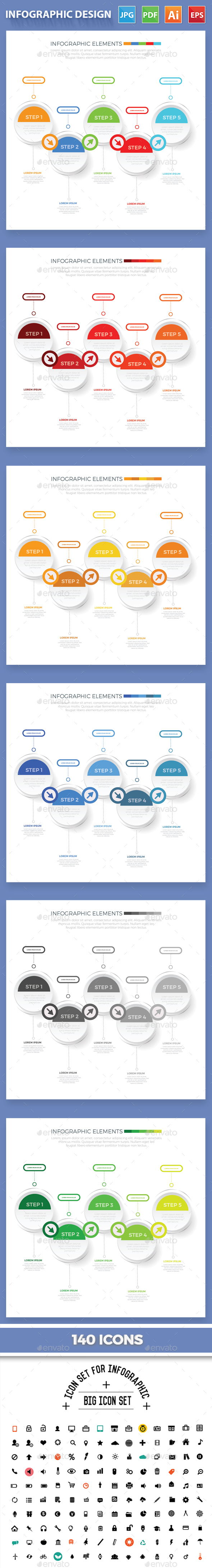 5 Steps Infographic Design - Infographics