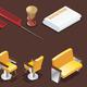 Isometric Barber Shop Elements Set