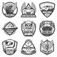 Vintage Monochrome Car Racing Labels Set