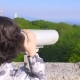 Boy Teenager, Traveler, Looking Through a Telescope on Top of a Mountain. , - VideoHive Item for Sale