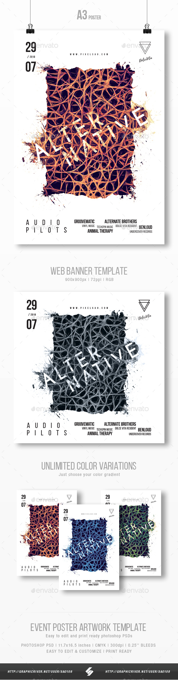 Alternative - Abstract Party Poster Artwork Template A3 - Events Flyers