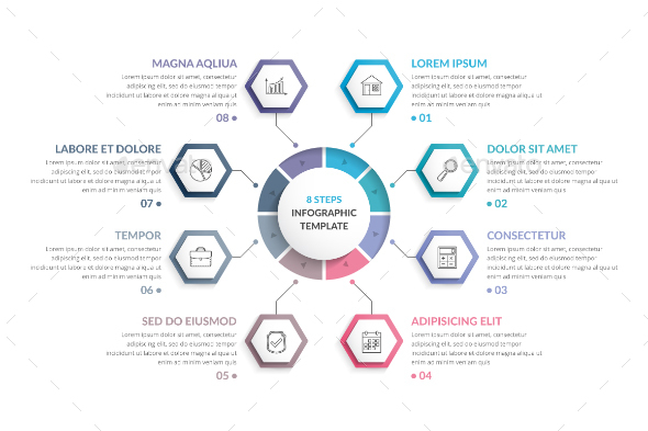 Circle Infographics with Hexagons - Infographics