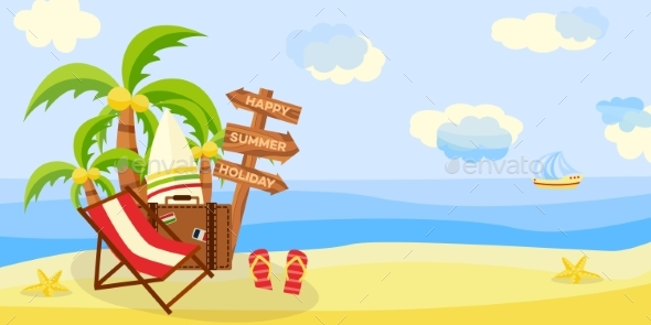 Summer Beach Vacation Horizontal Banner - Landscapes Nature