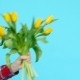 Bouquet of Yellow Tulips in a Female Hand on a Blue Background - VideoHive Item for Sale