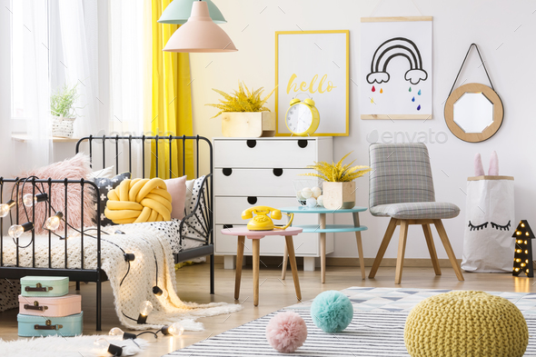Pastel kid's room interior - Stock Photo - Images