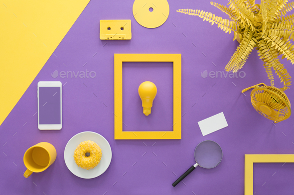 Yellow frame on violet background - Stock Photo - Images