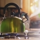 Boiling Green Kettle Boiling with Steam Emitted From Spout - VideoHive Item for Sale