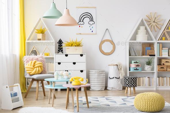 Pastel kid's playroom interior - Stock Photo - Images