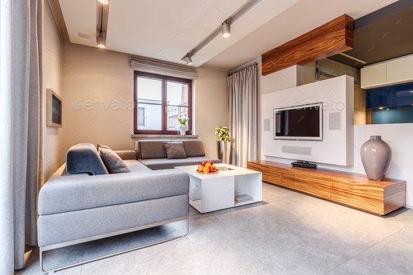 Cozy warm living room - Stock Photo - Images