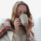 Simple Woman Drinks Tea Wrapped in a Warm Woolen Blanket - VideoHive Item for Sale
