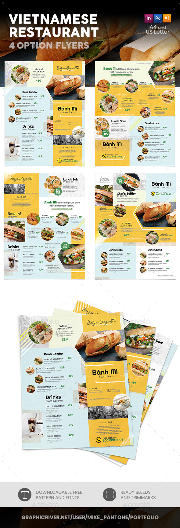 Vietnamese Restaurant Menu Flyers 4 – 4 Options