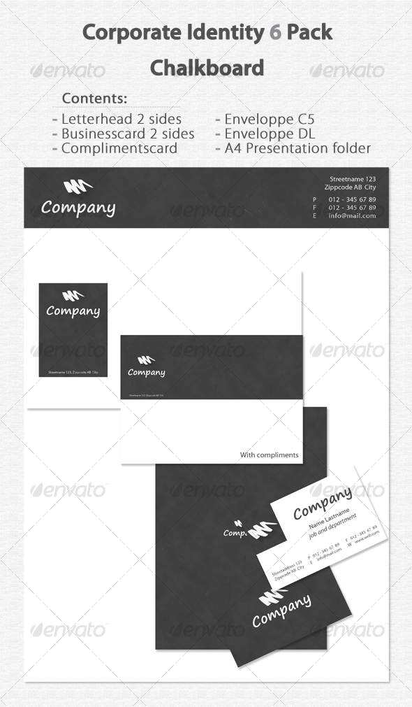 Corporate Identity 6 Pack Chalkboard - Stationery Print Templates