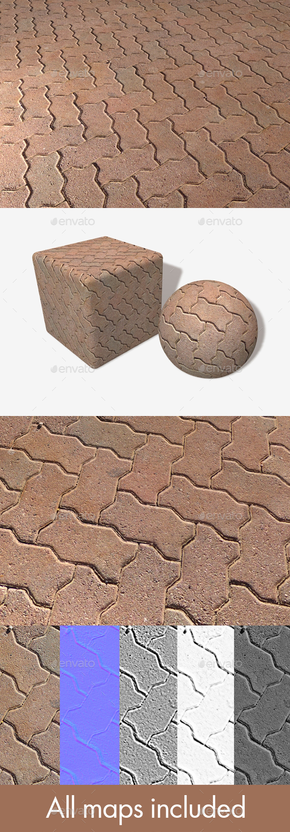 Zig Zag Paving Bricks Seamless Texture - 3DOcean Item for Sale