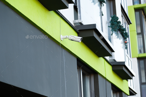 Security camera surveillance system outdoor of house. - Stock Photo - Images