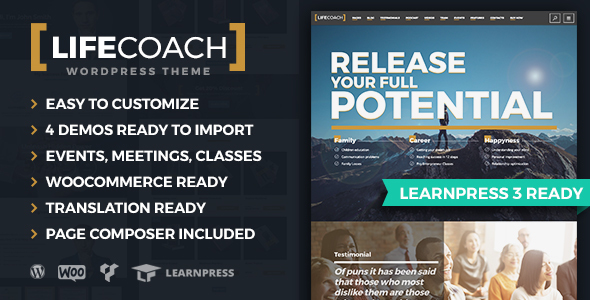 Life Coach WordPress Theme - LMS Ready