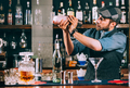 Portrait of barman preparing cocktails, using shaker and pouring beverages - PhotoDune Item for Sale