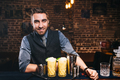 handsome barman smiling at camera, preparing cocktails and serving fresh drinks - PhotoDune Item for Sale