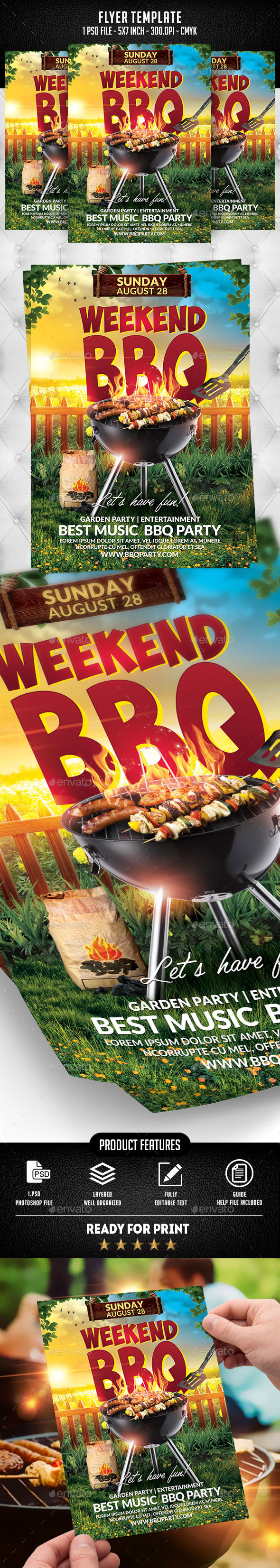 Weekend BBQ Flyer Template - Flyers Print Templates