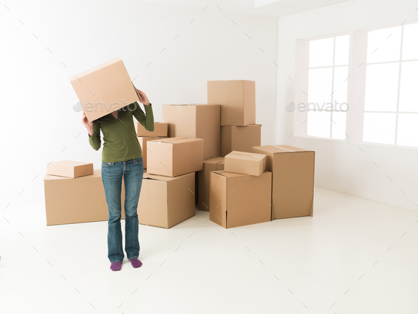 having fun while moving in new house - Stock Photo - Images