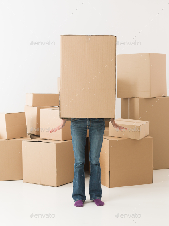 dancing box in new home - Stock Photo - Images