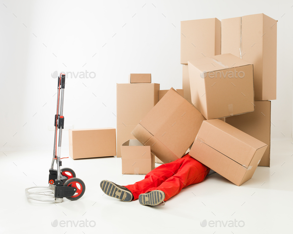 caught up in pile of parcels - Stock Photo - Images