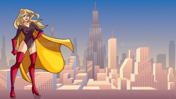 Superheroine Standing Tall in City - People Characters