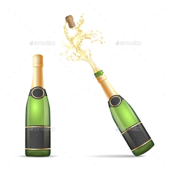 Champagne Bottle with Popping Cork - Food Objects