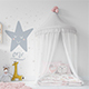 Kids Bed with Drapery Wall & Frames
