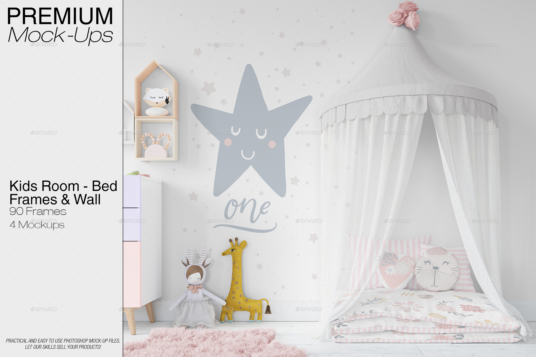 Kids Bed with Drapery Wall & Frames by mock-ups | GraphicRiver