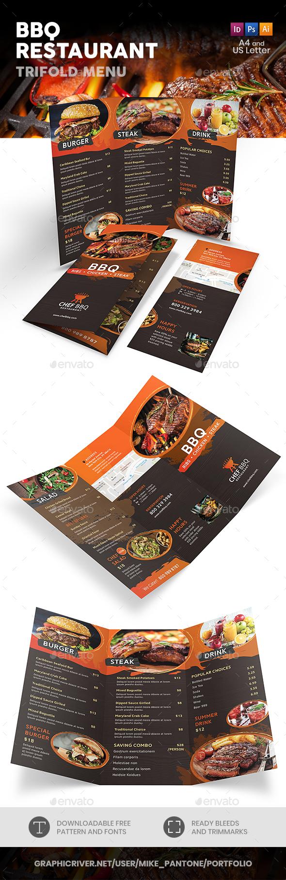 BBQ Restaurant Trifold Menu - Food Menus Print Templates