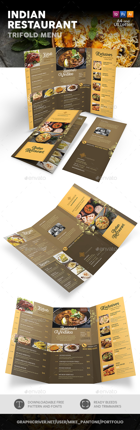Indian Restaurant Trifold Menu 2 - Food Menus Print Templates