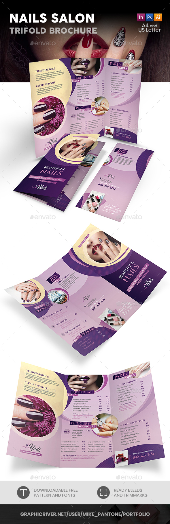 Nails Salon Trifold Brochure - Informational Brochures